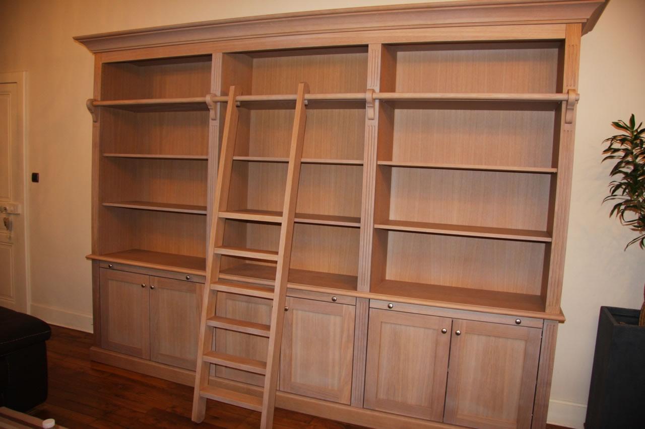 Meuble Tv Biblioth Que Bois Artzein Com # Exemple De Bureau Bibliotheque En Chene Massif